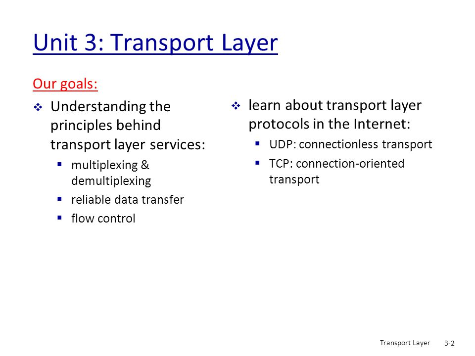 Unit 3: Transport Layer Our goals:
