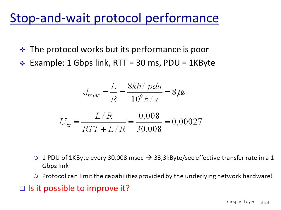 Stop-and-wait protocol performance