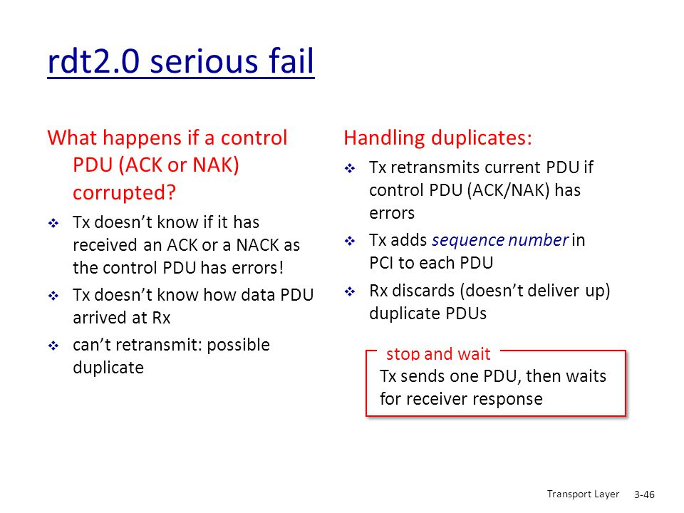 rdt2.0 serious fail What happens if a control PDU (ACK or NAK) corrupted