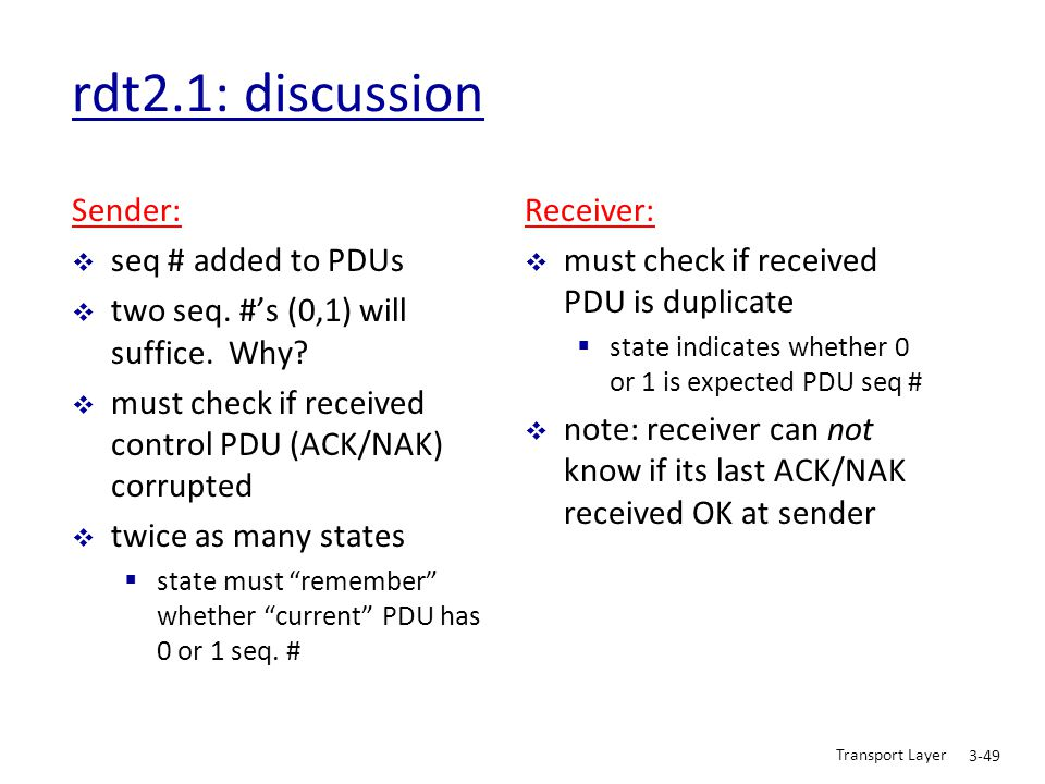 rdt2.1: discussion Sender: seq # added to PDUs
