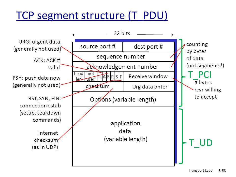 TCP segment structure (T_PDU)
