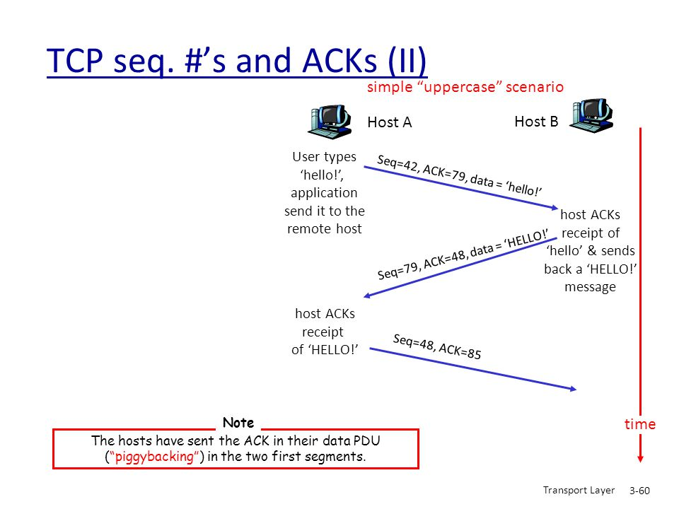 TCP seq. #'s and ACKs (II)