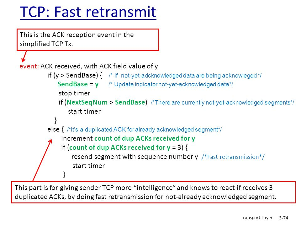 TCP: Fast retransmit This is the ACK reception event in the simplified TCP Tx. event: ACK received, with ACK field value of y.
