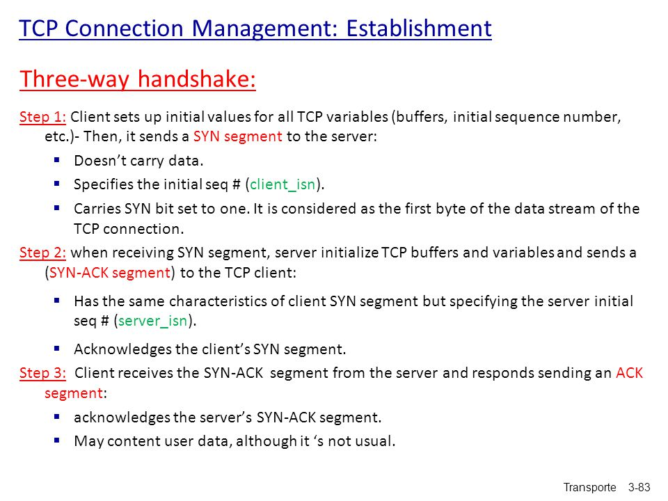 TCP Connection Management: Establishment