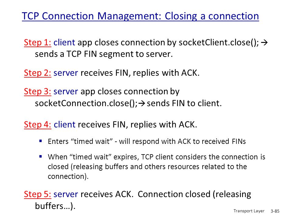 TCP Connection Management: Closing a connection