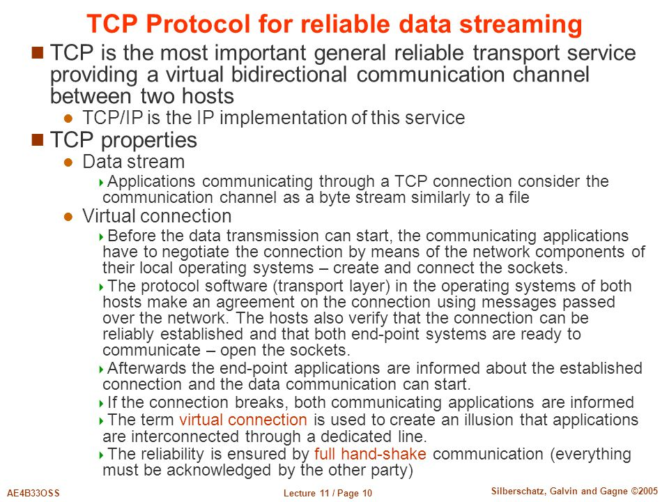 TCP Protocol for reliable data streaming
