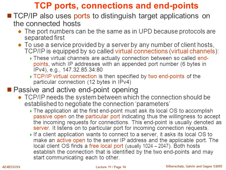 TCP ports, connections and end-points