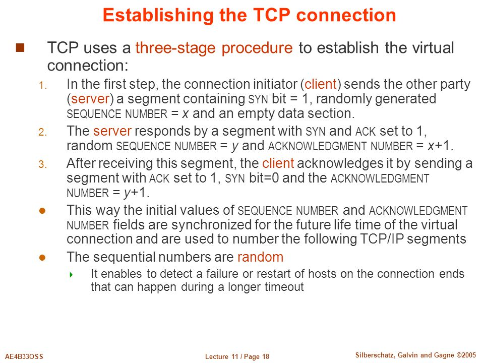 Establishing the TCP connection