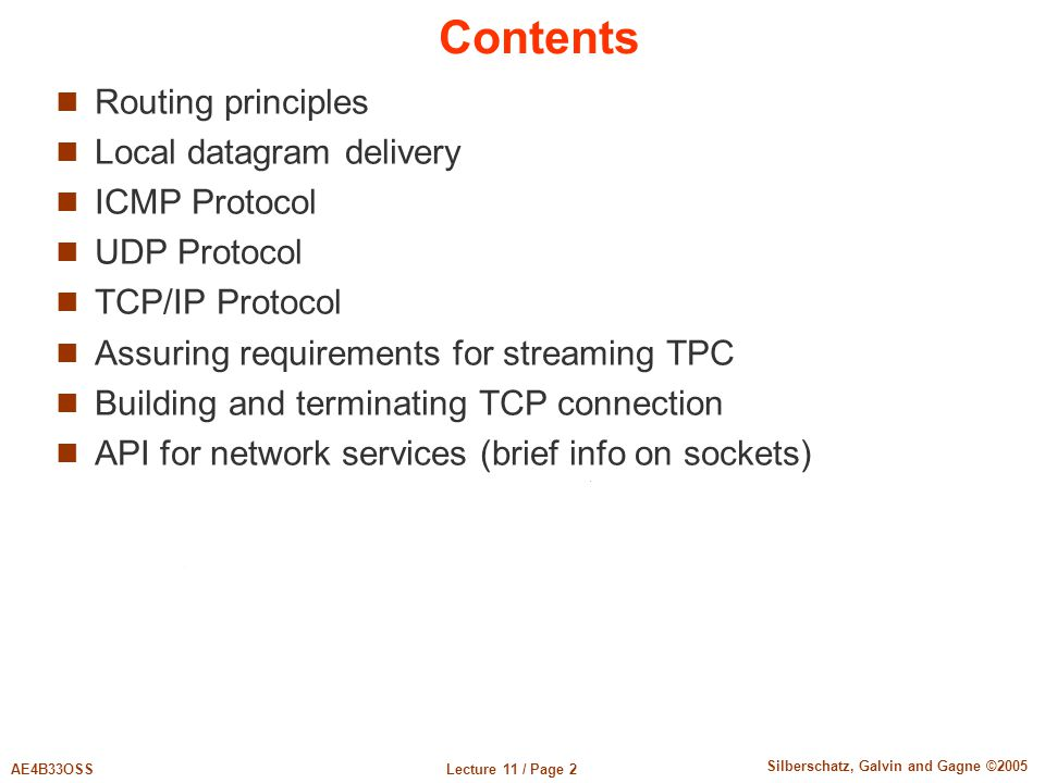 Contents Routing principles Local datagram delivery ICMP Protocol
