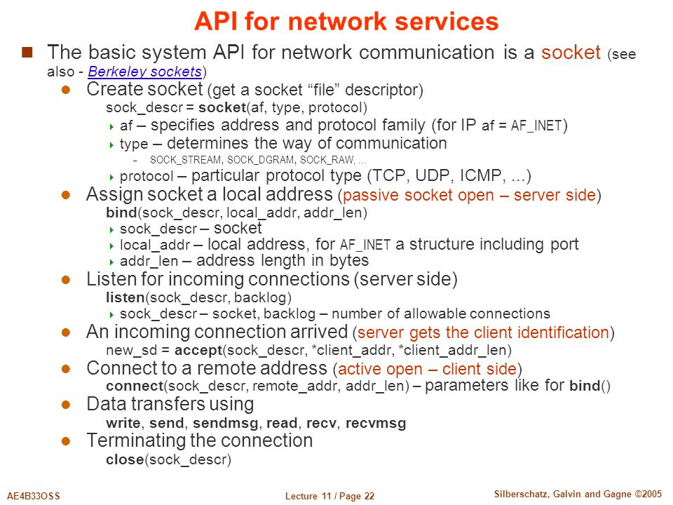API for network services