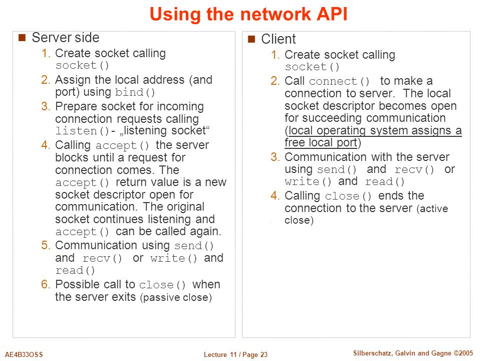 Using the network API Server side Client