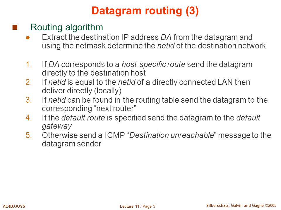 Datagram routing (3) Routing algorithm