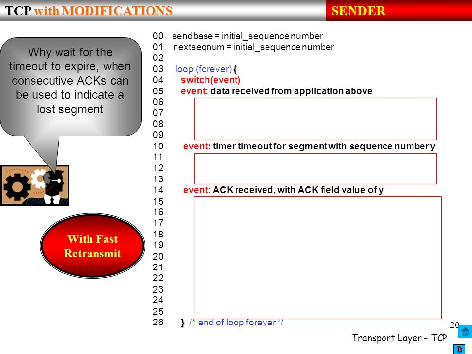 TCP with MODIFICATIONS SENDER