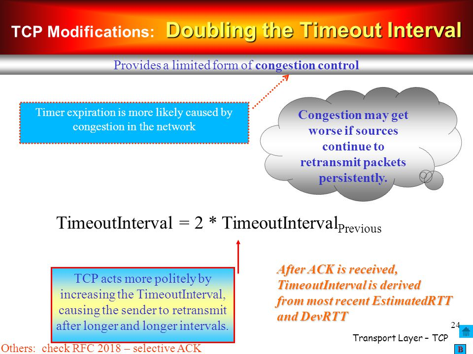 TCP Modifications: Doubling the Timeout Interval