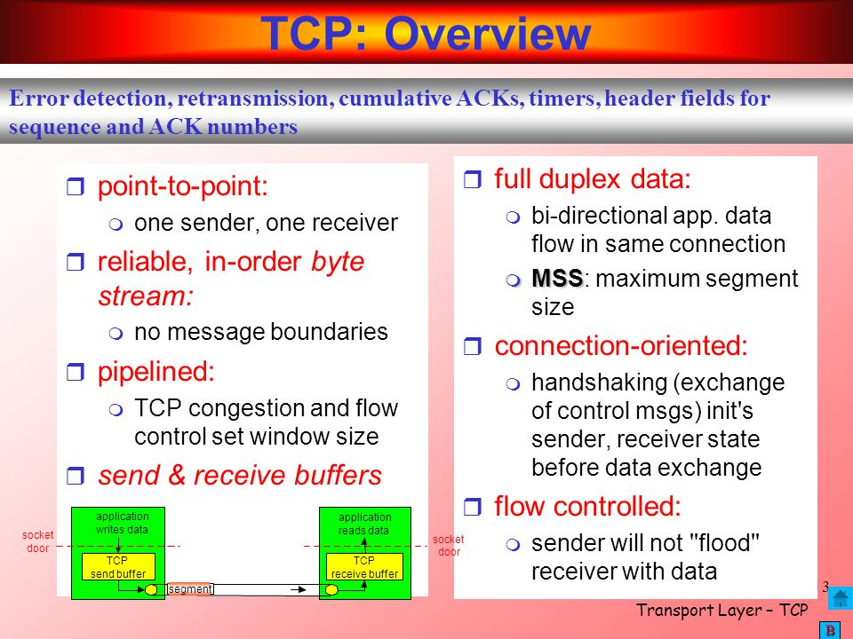 TCP: Overview full duplex data: point-to-point: