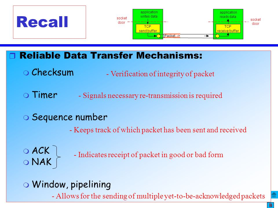 Recall Reliable Data Transfer Mechanisms: Checksum Timer