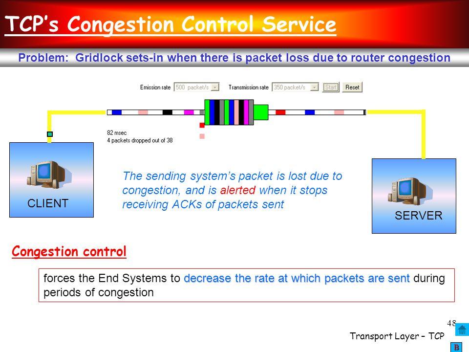 TCP's Congestion Control Service