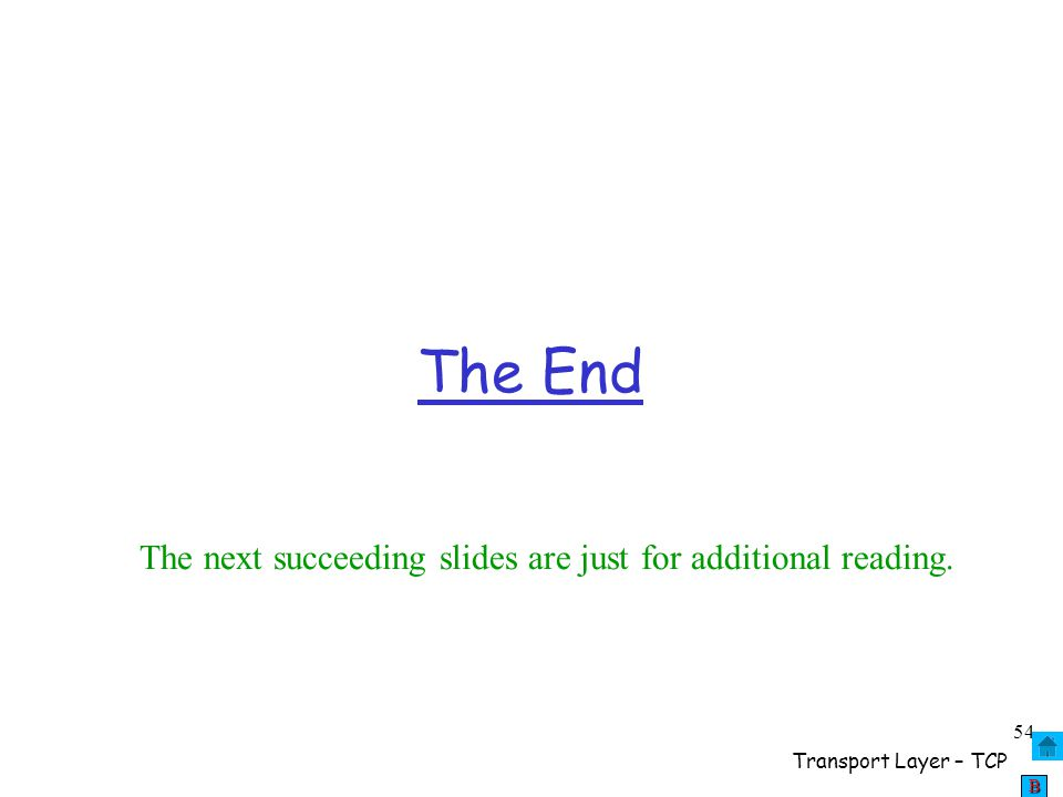 The End The next succeeding slides are just for additional reading.