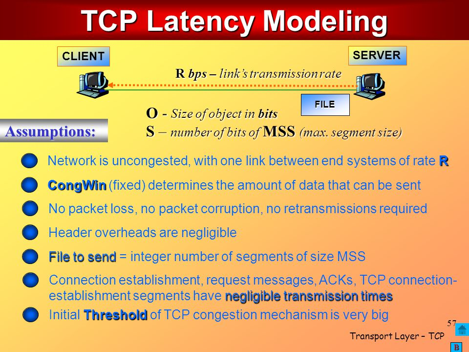 TCP Latency Modeling O - Size of object in bits Assumptions: