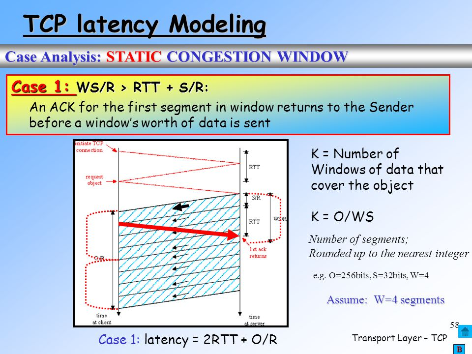 Case 1: latency = 2RTT + O/R