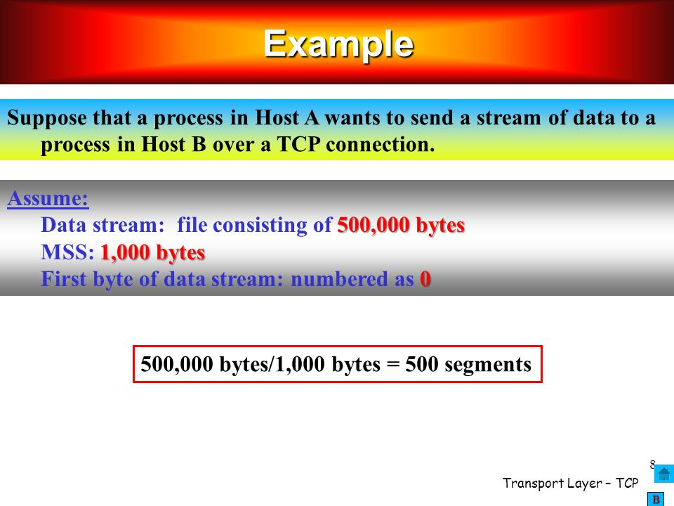 Example Suppose that a process in Host A wants to send a stream of data to a process in Host B over a TCP connection.