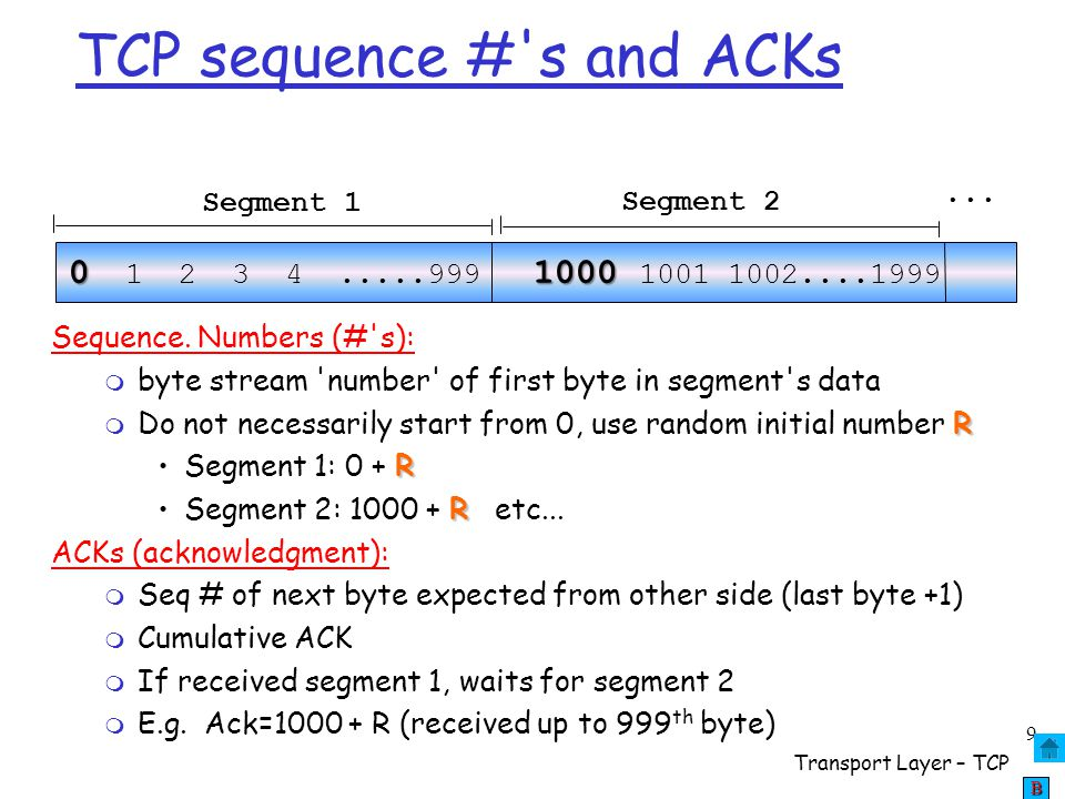 TCP sequence # s and ACKs