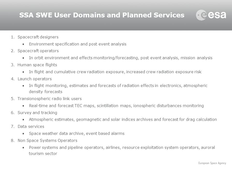 SSA SWE User Domains and Planned Services
