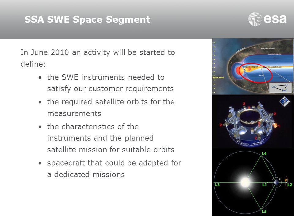 SSA SWE Space Segment In June 2010 an activity will be started to define: the SWE instruments needed to satisfy our customer requirements.