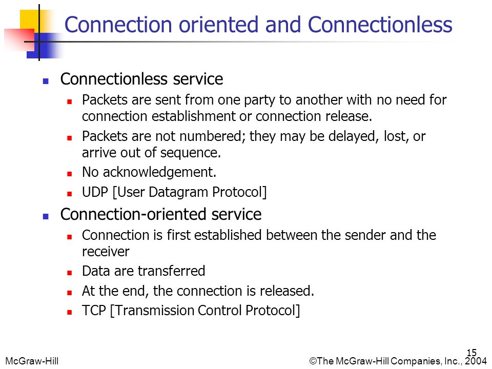 Connection oriented and Connectionless