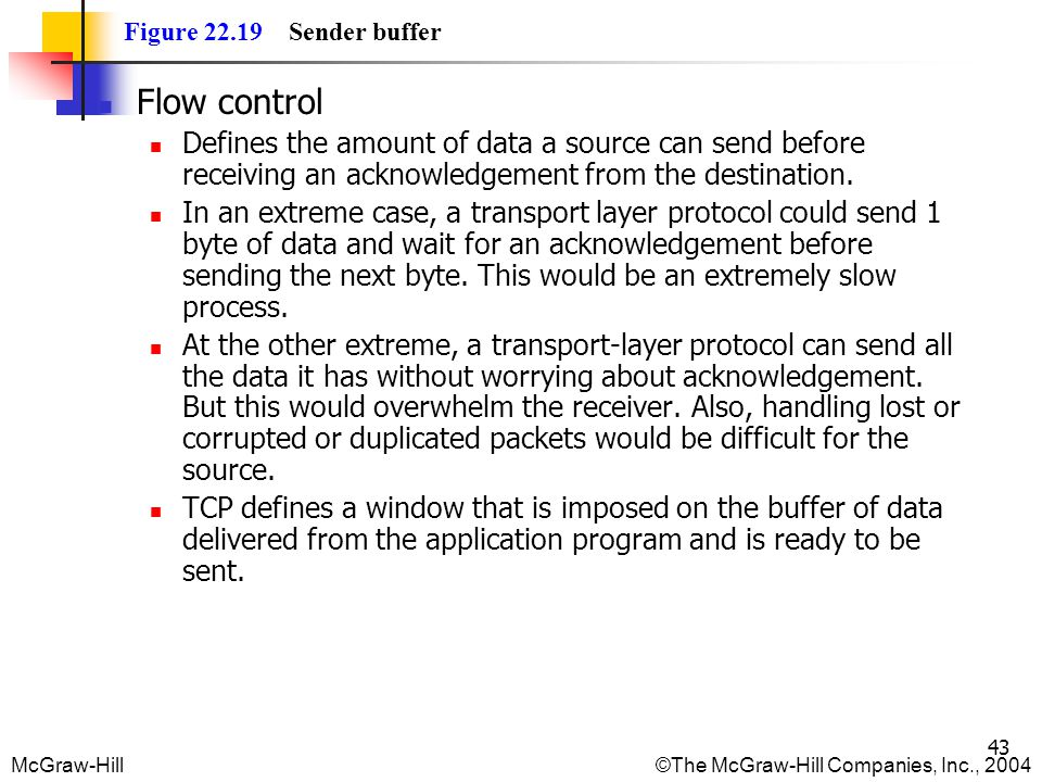 Figure 22.19 Sender buffer Flow control. Defines the amount of data a source can send before receiving an acknowledgement from the destination.