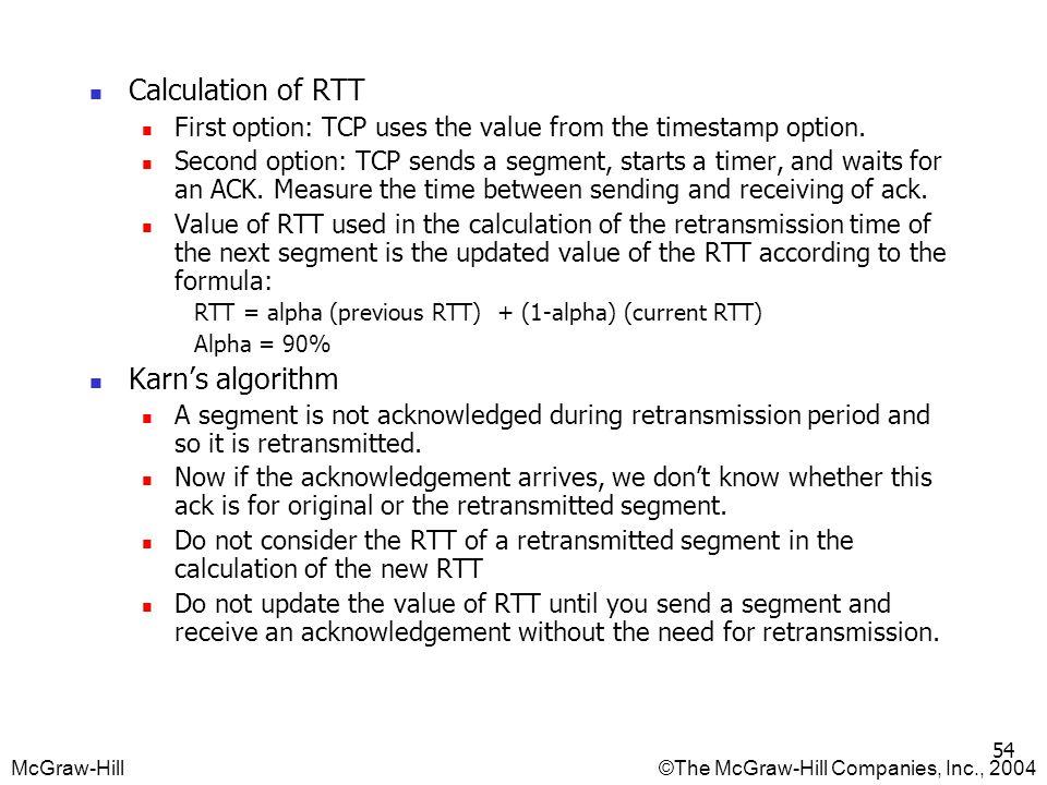 Calculation of RTT Karn's algorithm