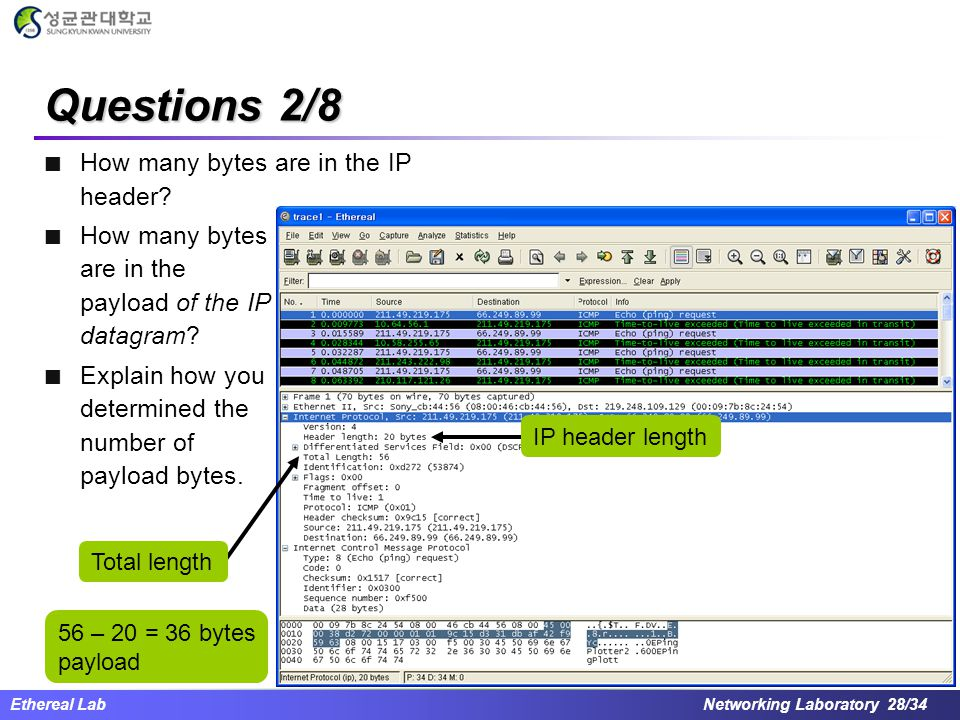 Questions 2/8 How many bytes are in the IP header