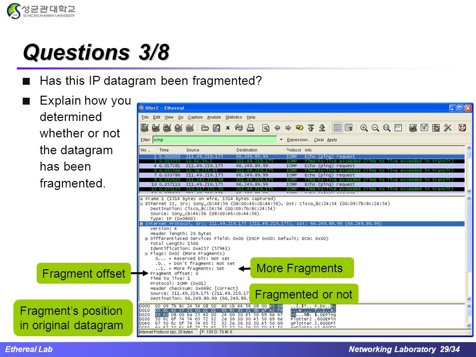 Questions 3/8 Has this IP datagram been fragmented