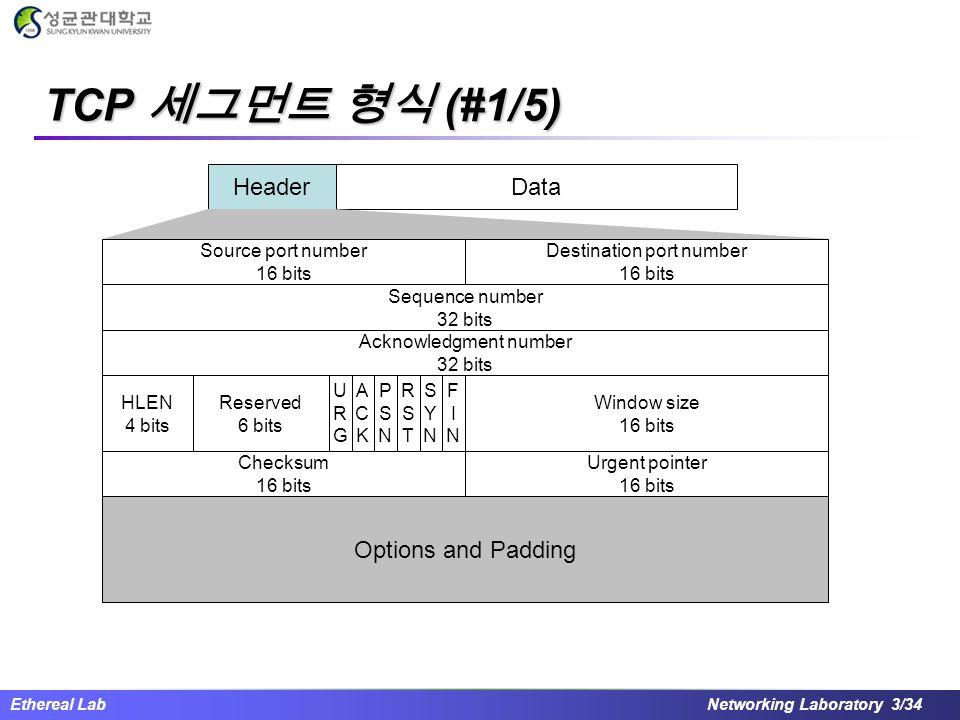 TCP 세그먼트 형식 (#1/5) Header Data Options and Padding Source port number