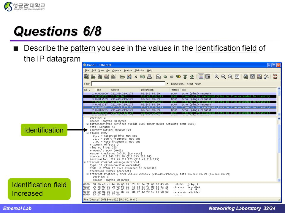Questions 6/8 Describe the pattern you see in the values in the Identification field of the IP datagram.