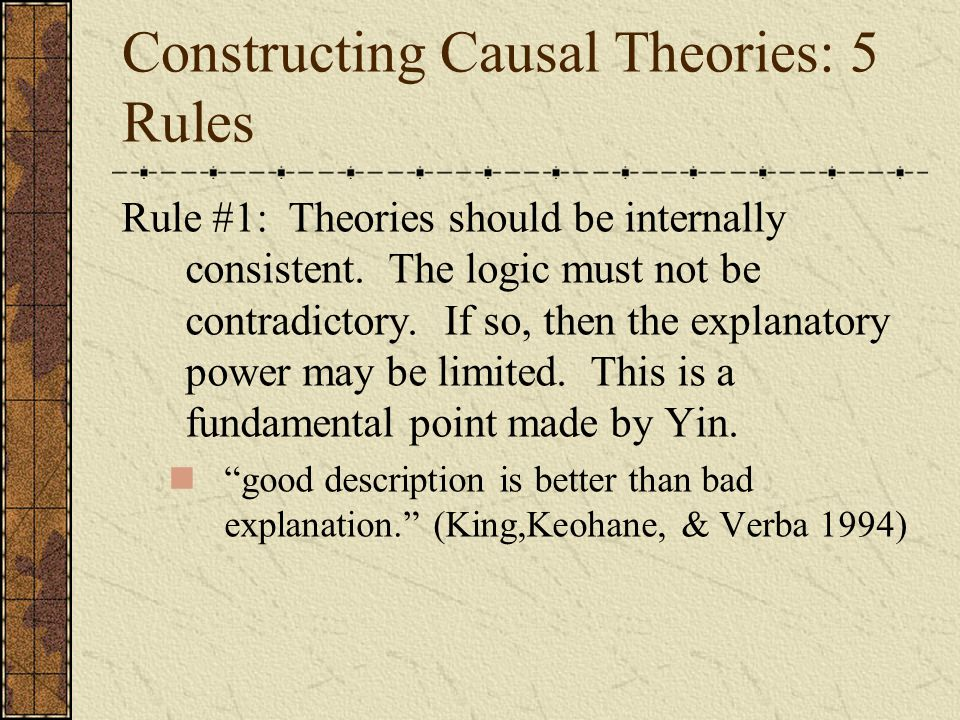 Constructing Causal Theories: 5 Rules