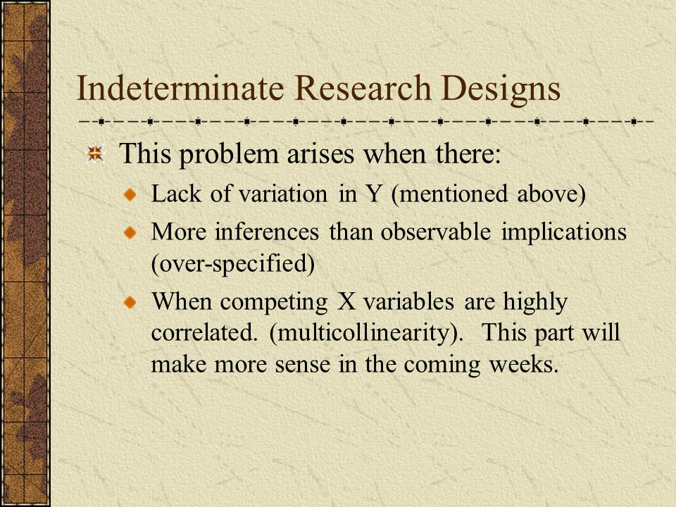 Indeterminate Research Designs
