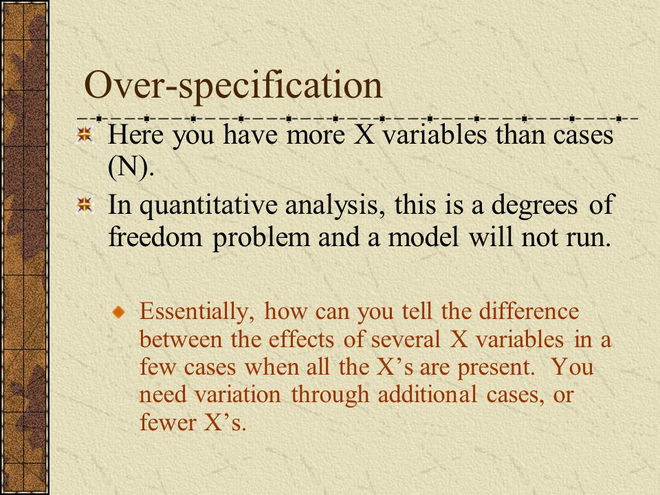 Over-specification Here you have more X variables than cases (N).