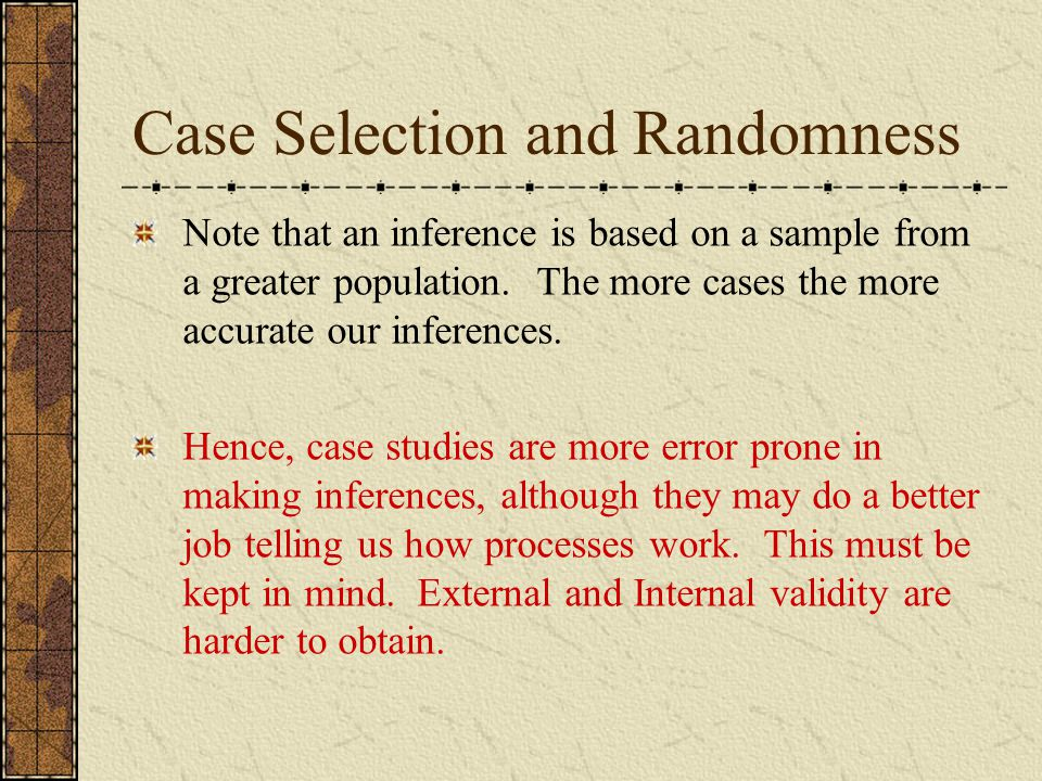 Case Selection and Randomness