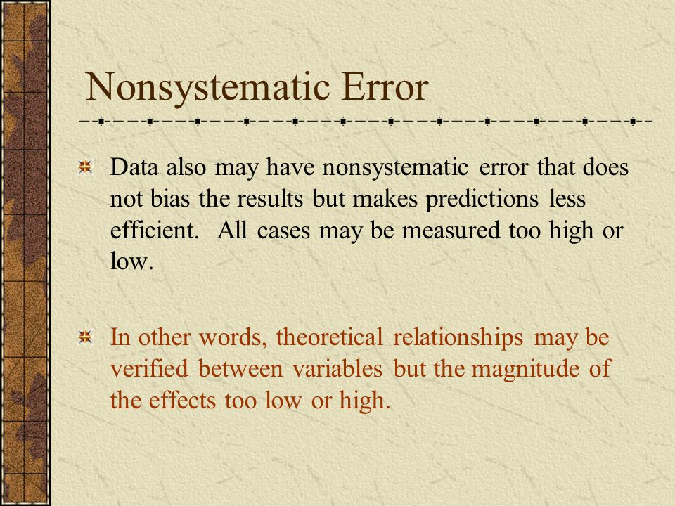 Nonsystematic Error