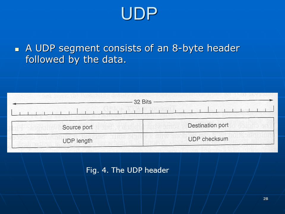 UDP A UDP segment consists of an 8-byte header followed by the data.