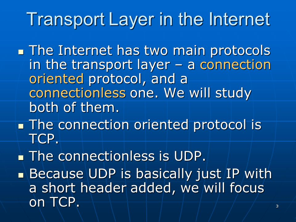 Transport Layer in the Internet