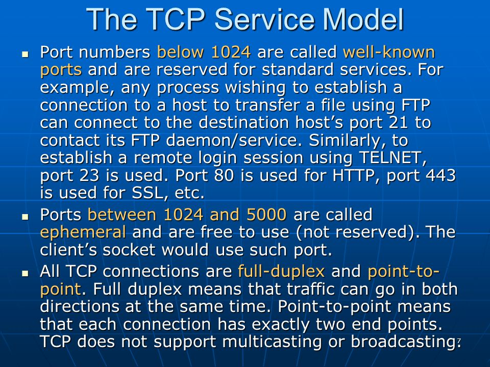 The TCP Service Model