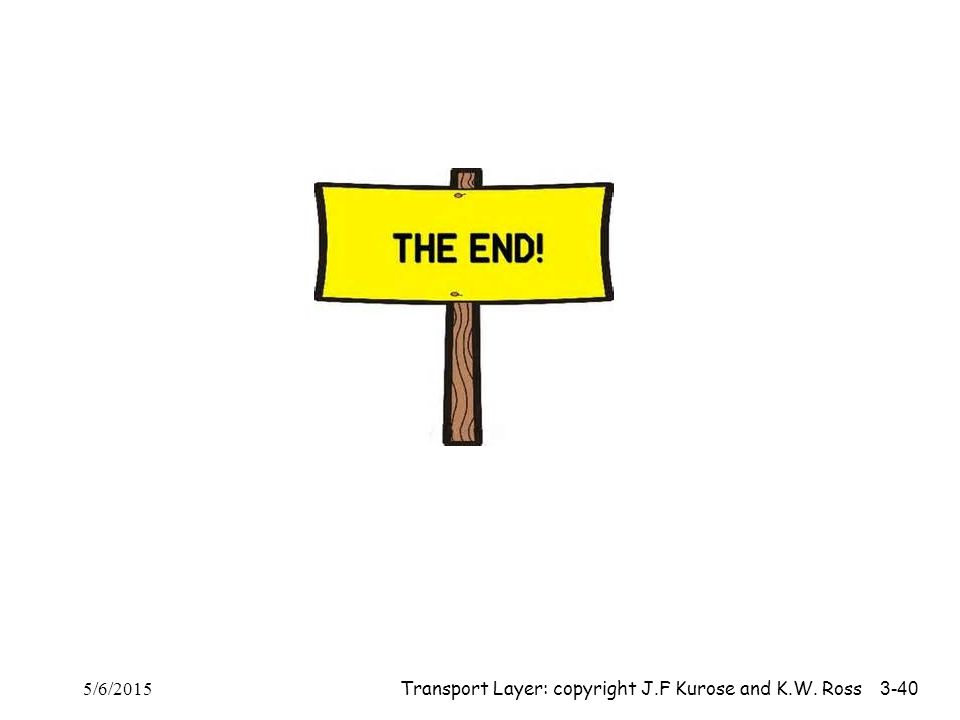 The End 4/14/2017 Transport Layer: copyright J.F Kurose and K.W. Ross