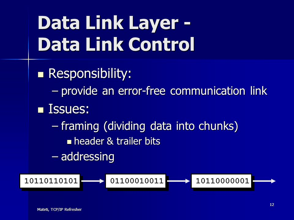 Data Link Layer - Data Link Control
