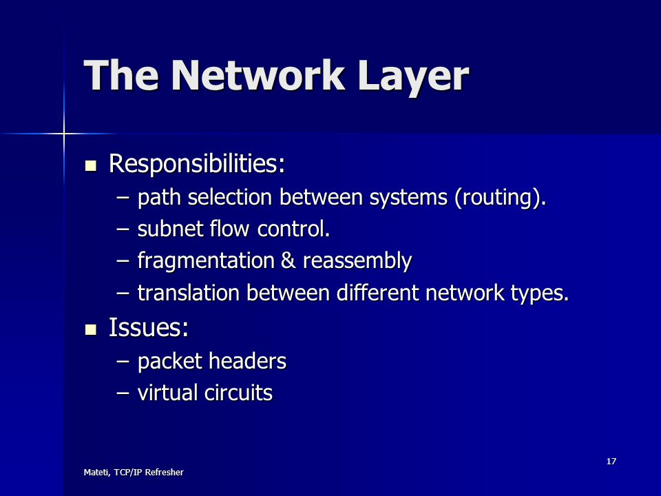 The Network Layer Responsibilities: Issues: