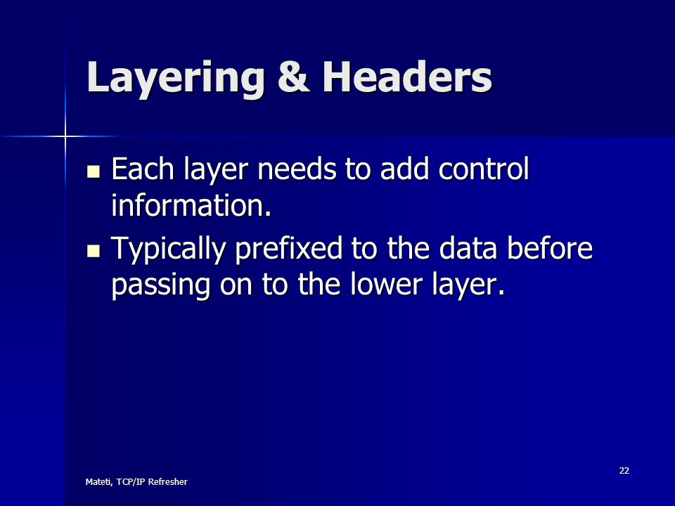 Layering & Headers Each layer needs to add control information.