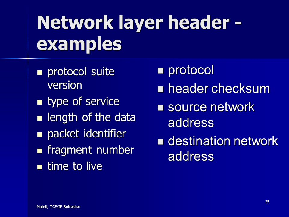 Network layer header - examples