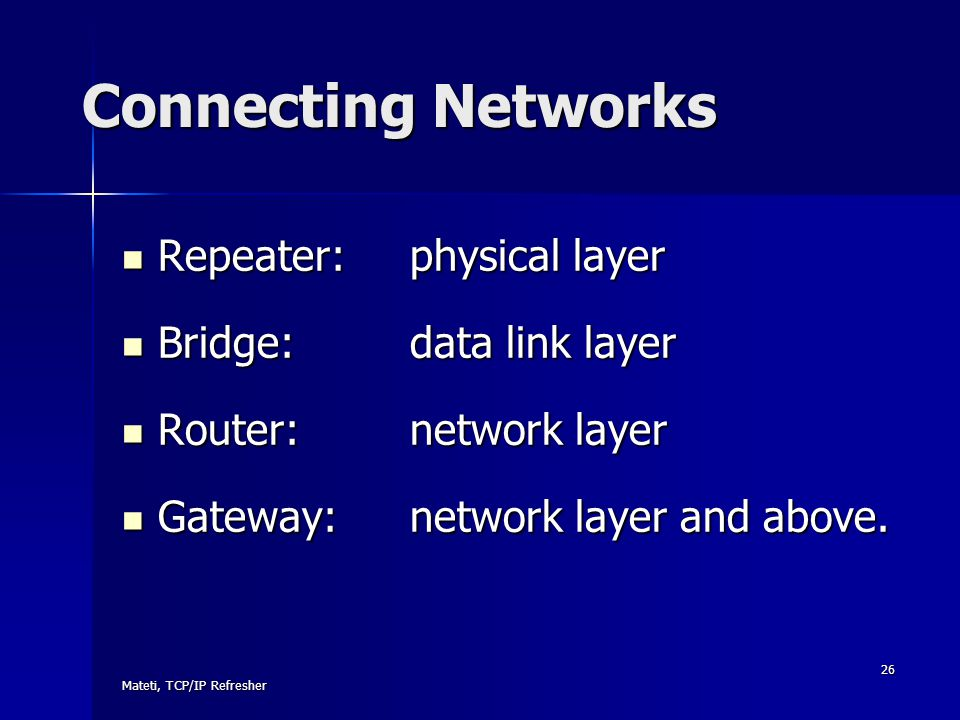 Connecting Networks Repeater: physical layer Bridge: data link layer