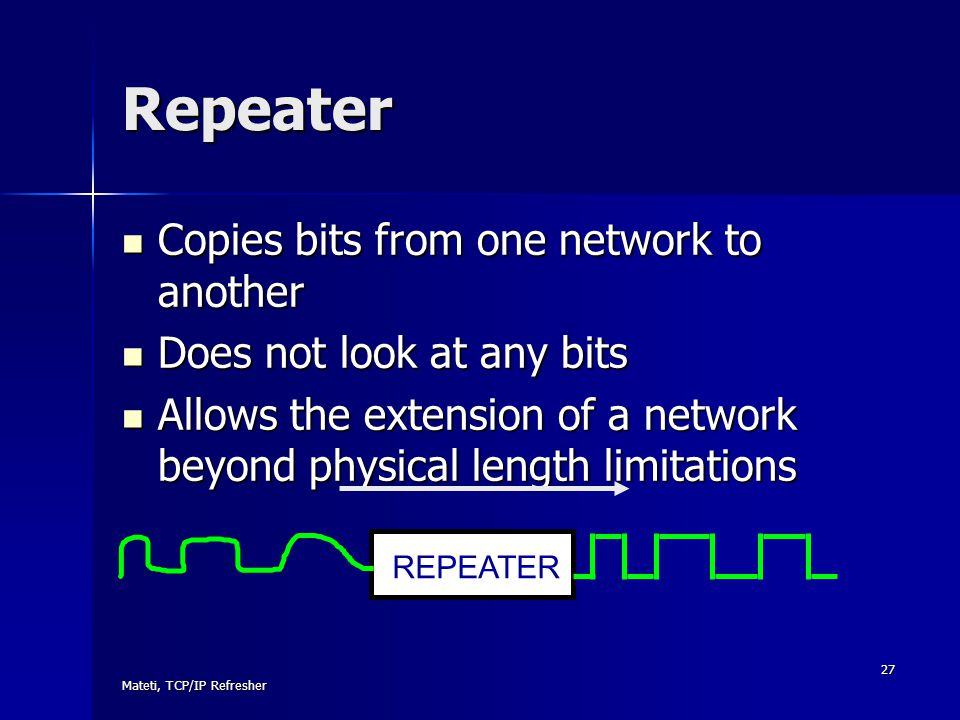 Repeater Copies bits from one network to another
